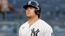 Luke Voit #59 of the Yankees strikes out