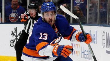 New York Islanders center Mathew Barzal (13) celebrates