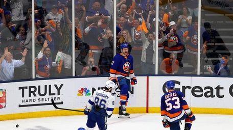 Matt Martin #17 of the Islanders celebrates after