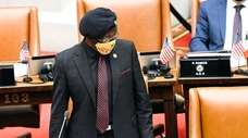 Assemb. Nick Perry (D-Brooklyn) debates new legislation for