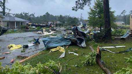 This photo provided by Alicia Jossey shows debris