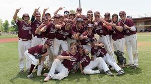 The Garden City baseball team celebrates its victory