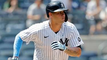 Gary Sanchez of the Yankees follows through on