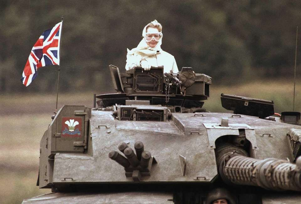 Margaret Thatcher during a visit to British forces