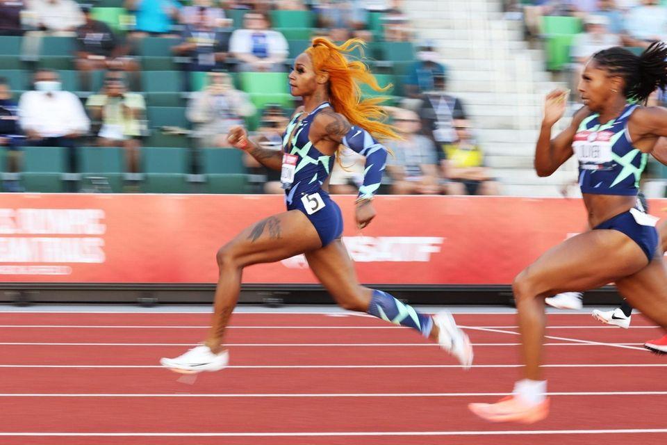 EUGENE, OREGON - JUNE 19: Sha'Carri Richardson competes