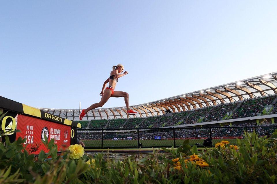 EUGENE, OREGON - JUNE 20: Emma Coburn competes
