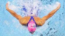 Regan Smith of the United States competes