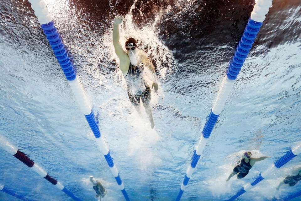 Katie Ledecky of the United States competes in