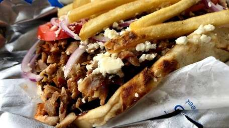 The General gyro stuffed with spit-roasted pork, lamb,