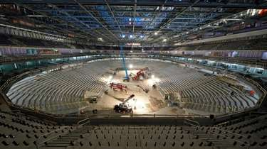 Construction continues at UBS Arena, the future home