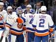 Semyon Varlamov of the Islanders is replaced by