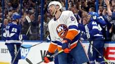 Scott Mayfield of the Islanders reacts to a