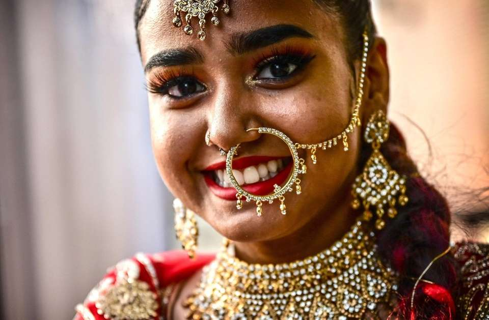 Portrait of Aiesha Babulal, dressed for her prom