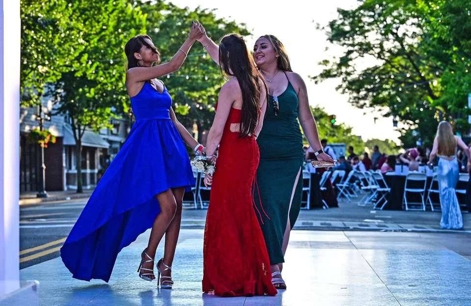 Students dance on Main Street in Patchogue as