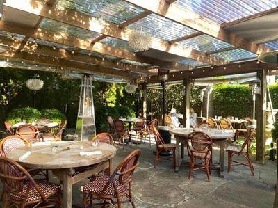 The patio at Fresno in East Hampton.
