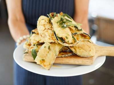 Crispy eggplant chips with wildflower honey, salt, and