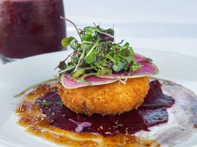 Fried goat cheese with beets, as served at