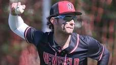 Newfield's Dylan Johnson during a Suffolk baseball game