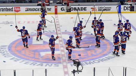 Islanders celebrate their Game 6 overtime victory in
