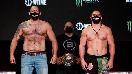 Timothy Johnson, left, and Valentin Moldavsky at Bellator