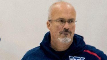 Rangers goalies coach Benoit Allaire during practice at
