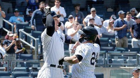 Gary Sanchez #24 of the Yankees celebrates his