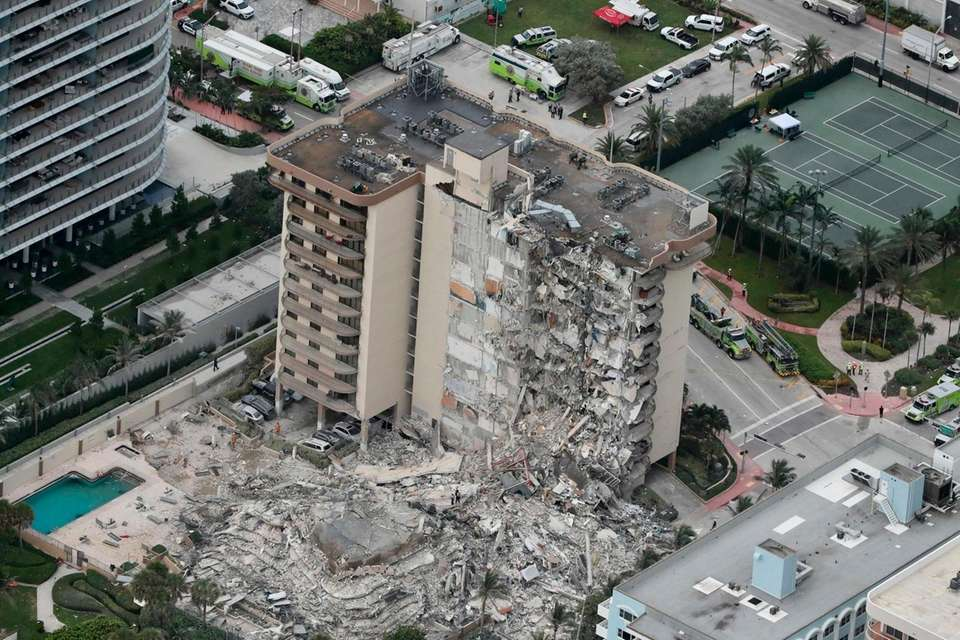 This aerial photo shows part of the 12-story
