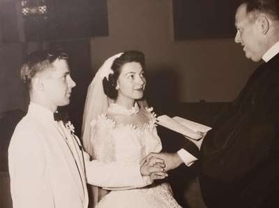 Personal photo of the 1956 wedding ceremony of