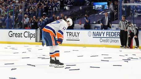 Matt Martin #17 of the Islanders reacts after