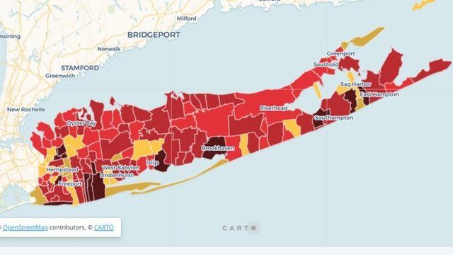 Coronavirus positivity rate by school district on Long