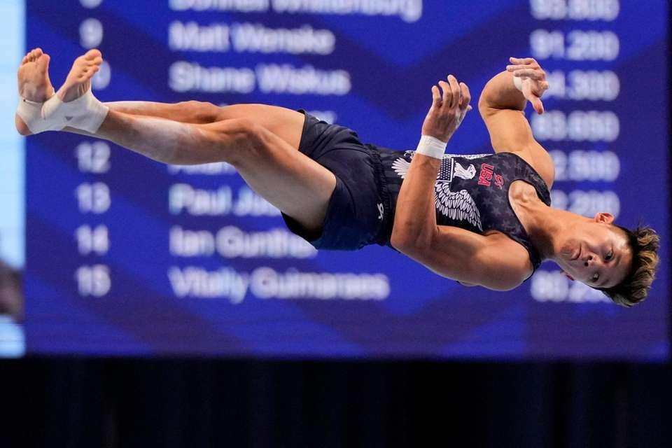 Yul Moldauer competes in the floor exercise during