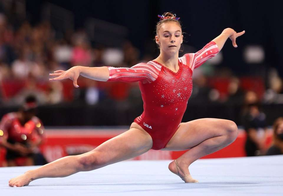 Grace McCallum competes in the floor exercise during