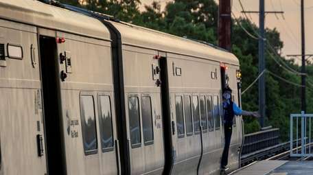 A conductor at the LIRR in Merrick on