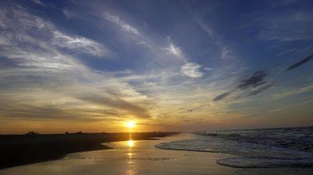 Sunrise at Jones Beach State Park Monday.