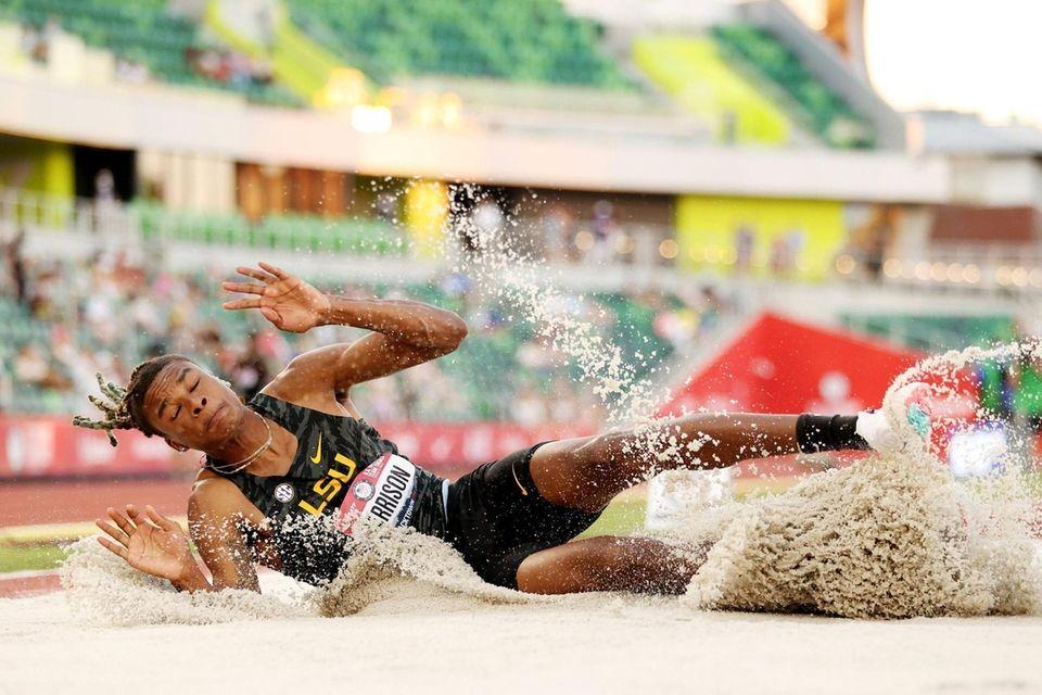 EUGENE, OREGON - JUNE 27: JuVaughn Harrison competes