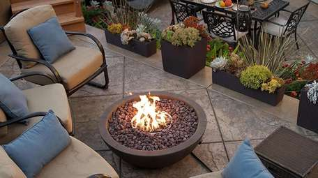 Propane fueled fire pit; $249 at wayfair.com.
