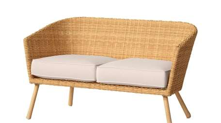 Wicker patio love seat; $420 at Target.