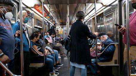 The scene on a subway train in Manhattan