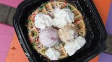 A confetti waffle with cherry-vanilla and almond-praline ice