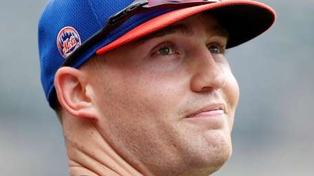 Brandon Nimmo of the Mets looks on during