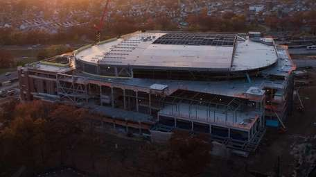 An aerial view of construction of UBS Arena,