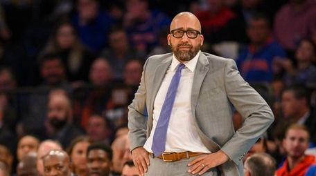 Knicks coach David Fizdale looks on in the