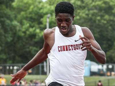 Jermaine Thompson of Connetquot wins the 200 meter