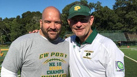 Former LIU head coach Bryan Collins, right, with