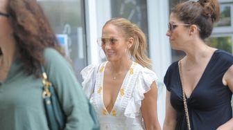 Jennifer Lopez wears a white summer dress as