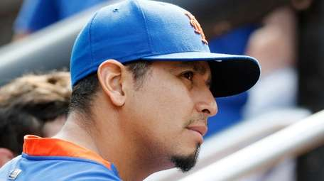 Carlos Carrasco of the Mets looks on from