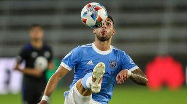 New York City FC midfielder Valentin Castellanos controls