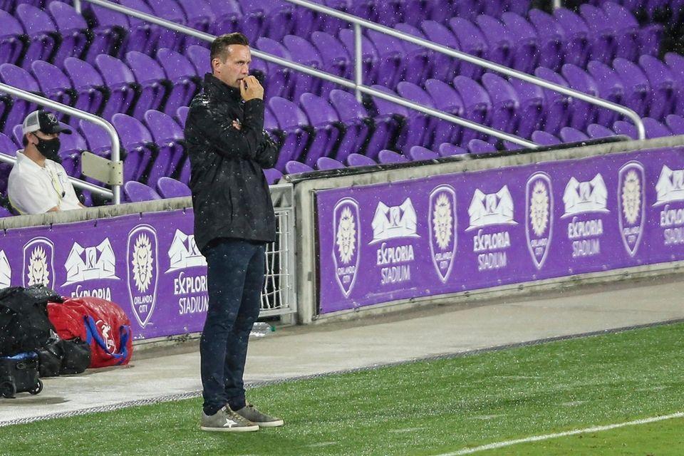 New York City FC coach Ronny Deila watches