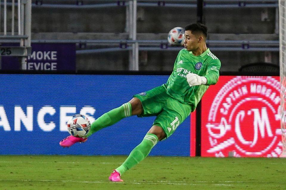 New York City FC goalkeeper Luis Barraza clears