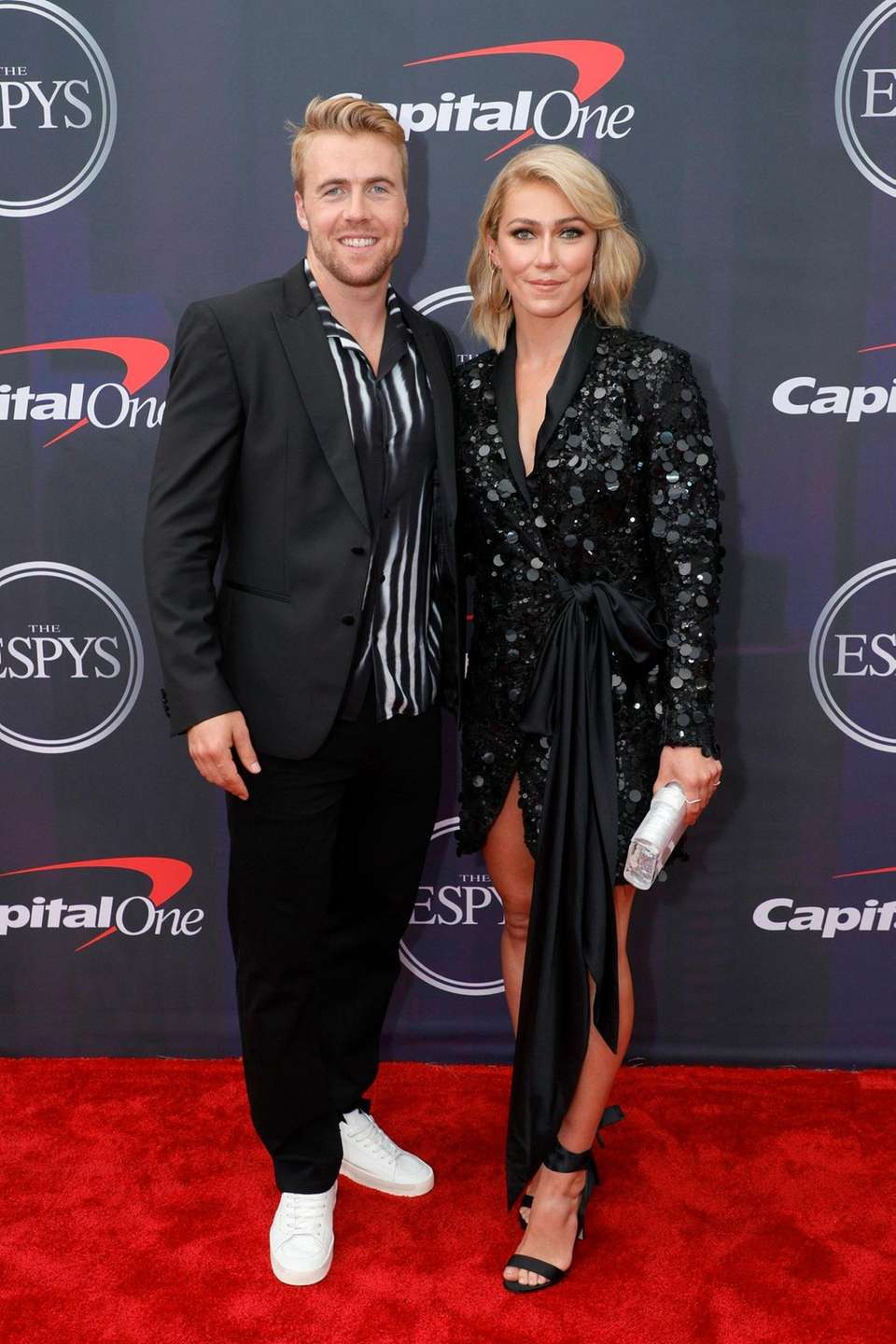Aleksander Aamodt Kilde and Mikaela Shiffrin attend the